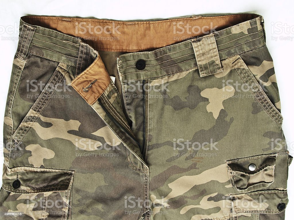 camouflage pants with its pockets stock photo