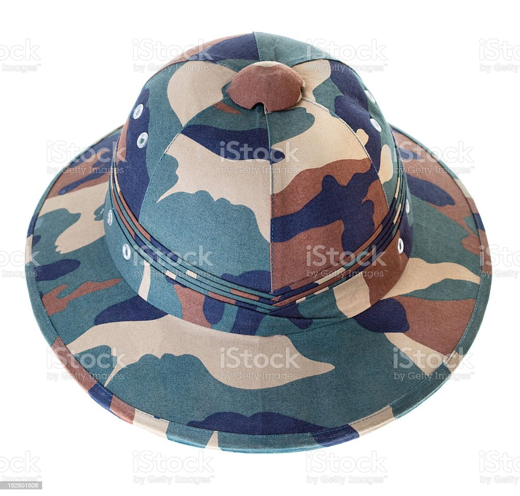 Camouflage Pith Helmet Isolated White Background Front View royalty-free stock photo