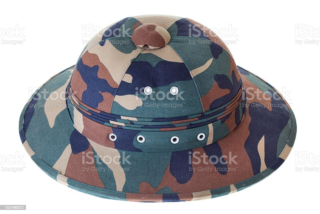 Camouflage Pith Helmet Isolated White Background Side View royalty-free stock photo