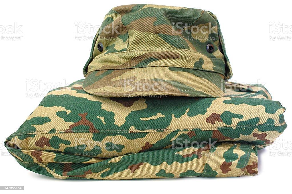 Camouflage uniform complete set. stock photo