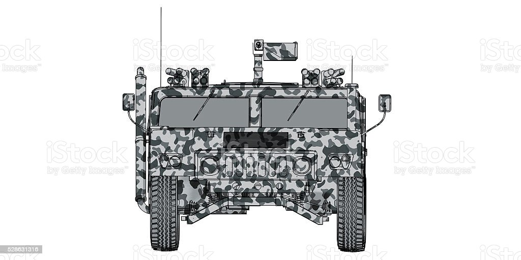 camouflaged 3d render front view of military vehicle stock photo