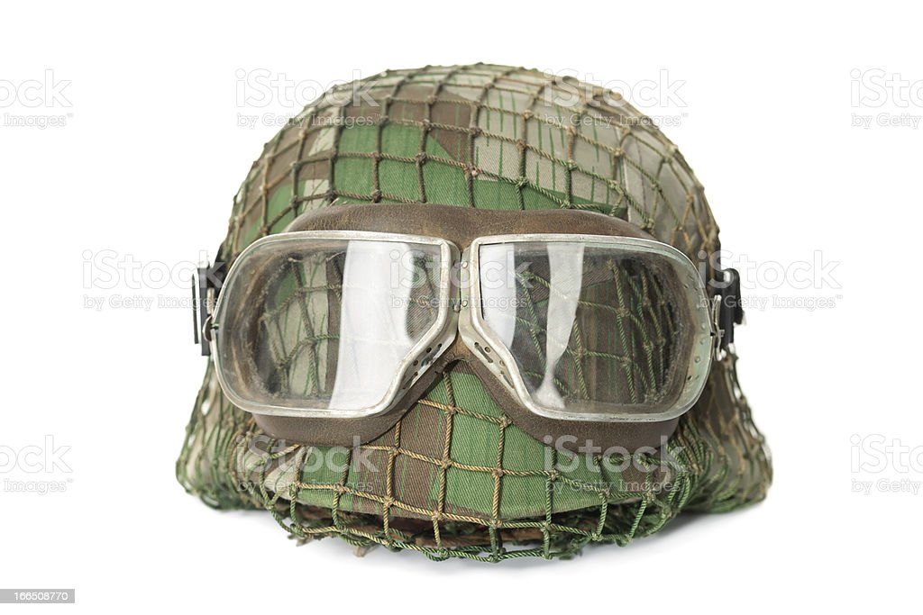 camouflaged helmet with protective goggles stock photo