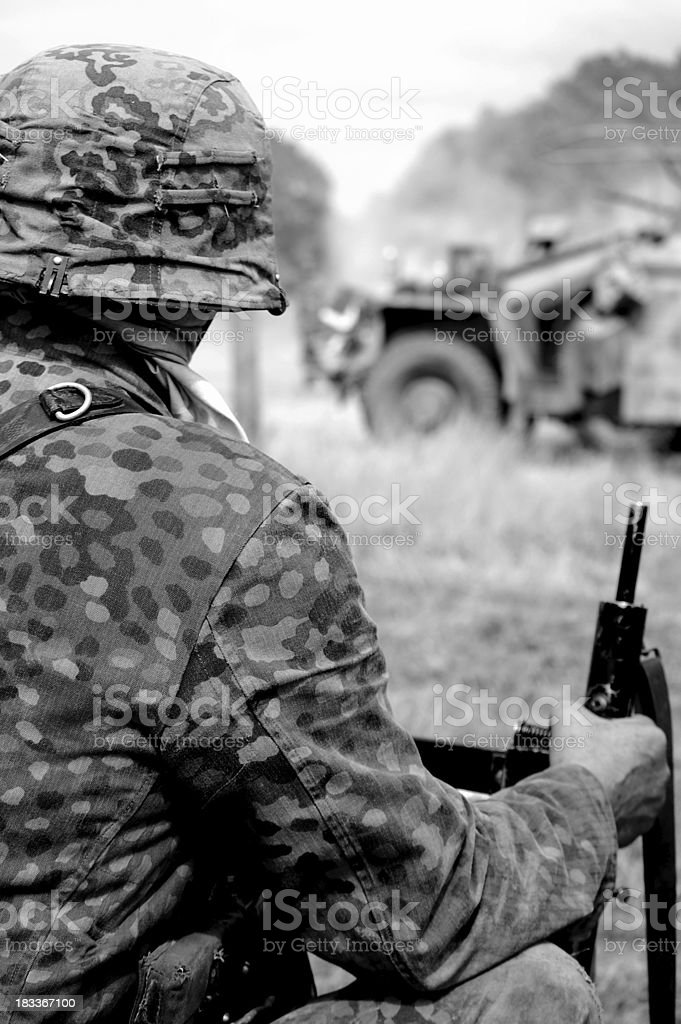 Camouflaged Soldier. stock photo