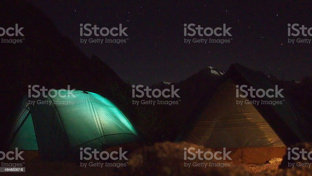 Camp at Night Inca Trail stock photo
