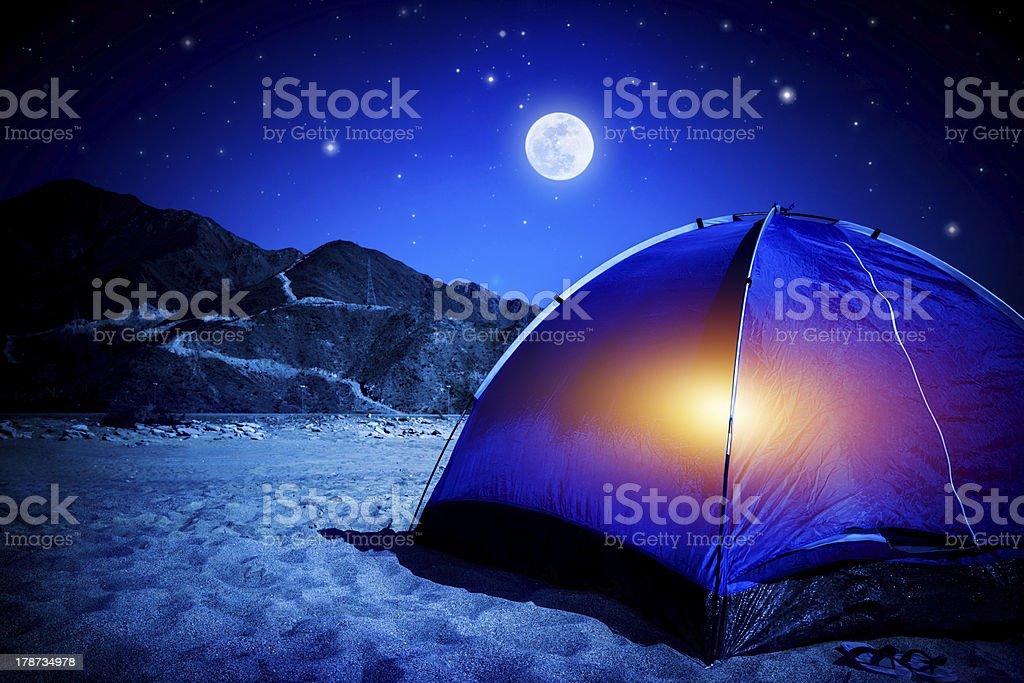 Camp at night royalty-free stock photo