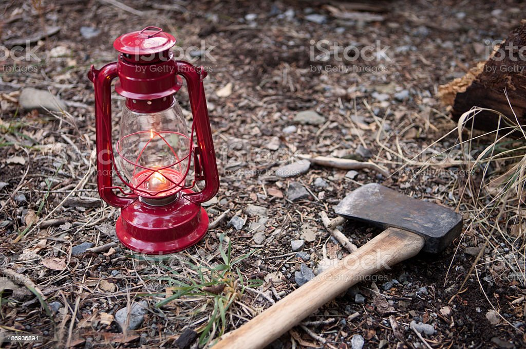 Camp Axe and Lantern stock photo