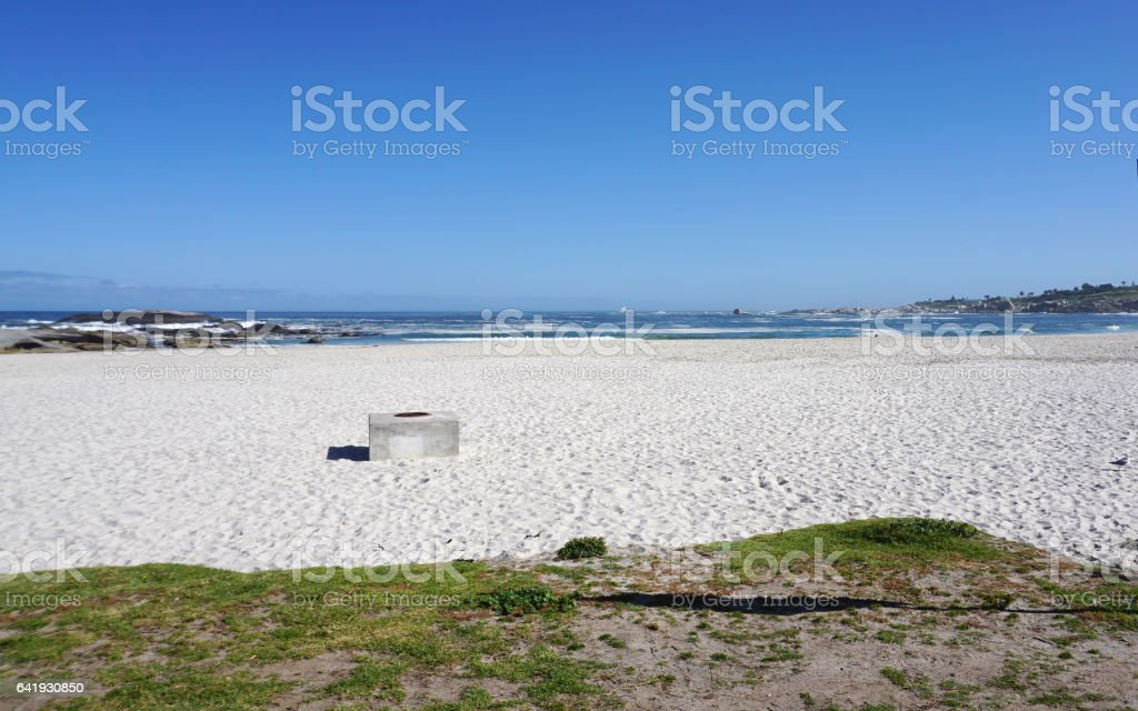 Camp bay beautiful beach with ocean back ground in Cape town stock photo