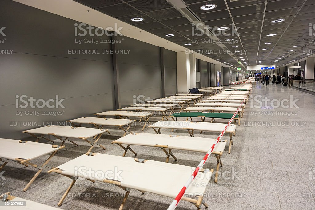 camp beds are standing row by row in the airport stock photo