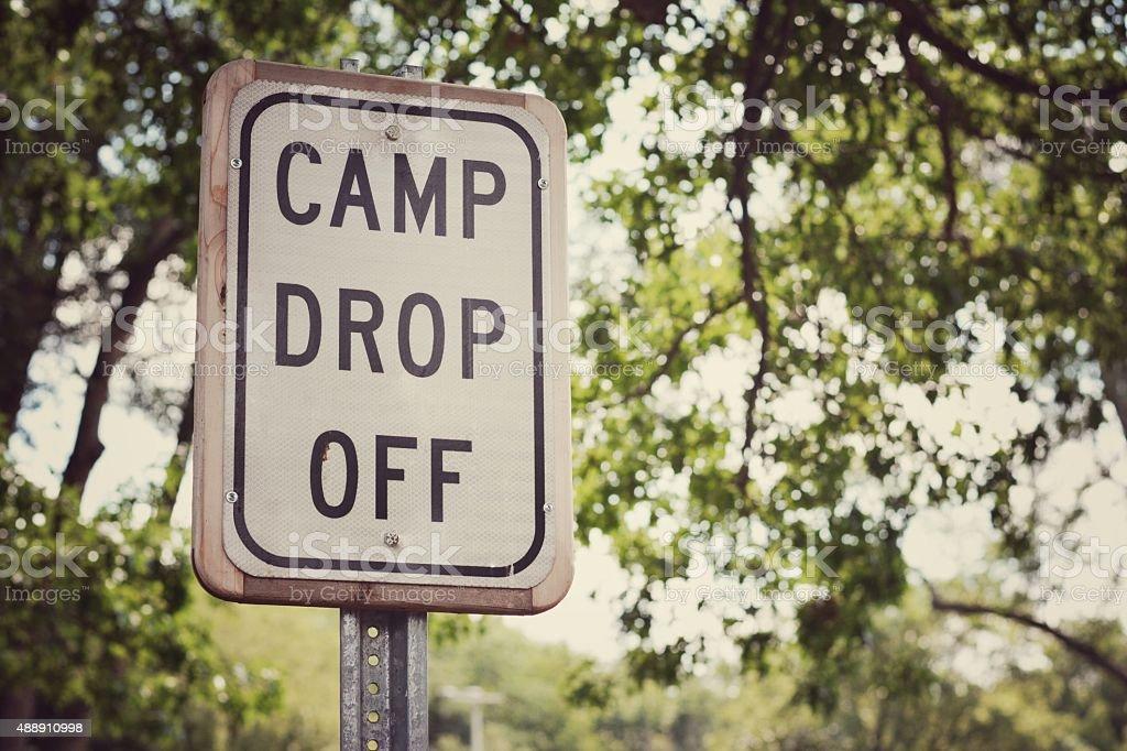 Camp Drop Off sign stock photo