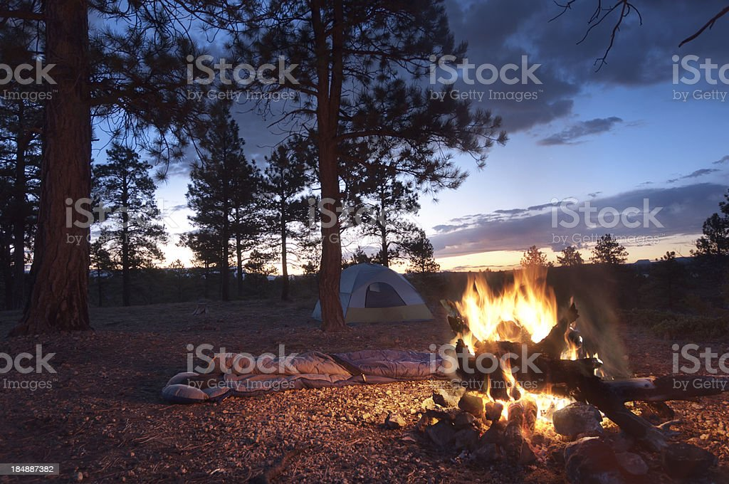 Camp Fire at Dawn stock photo