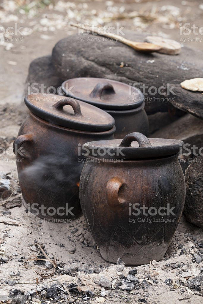 Camp fire cooking stock photo