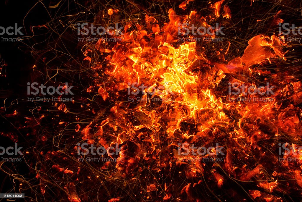 Camp Fire Embers Look Like Molten Lava stock photo