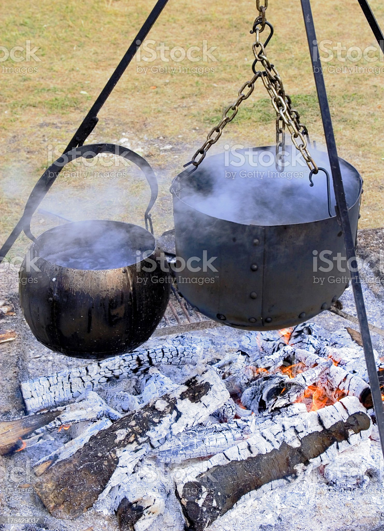 Camp fire food cauldrons. royalty-free stock photo