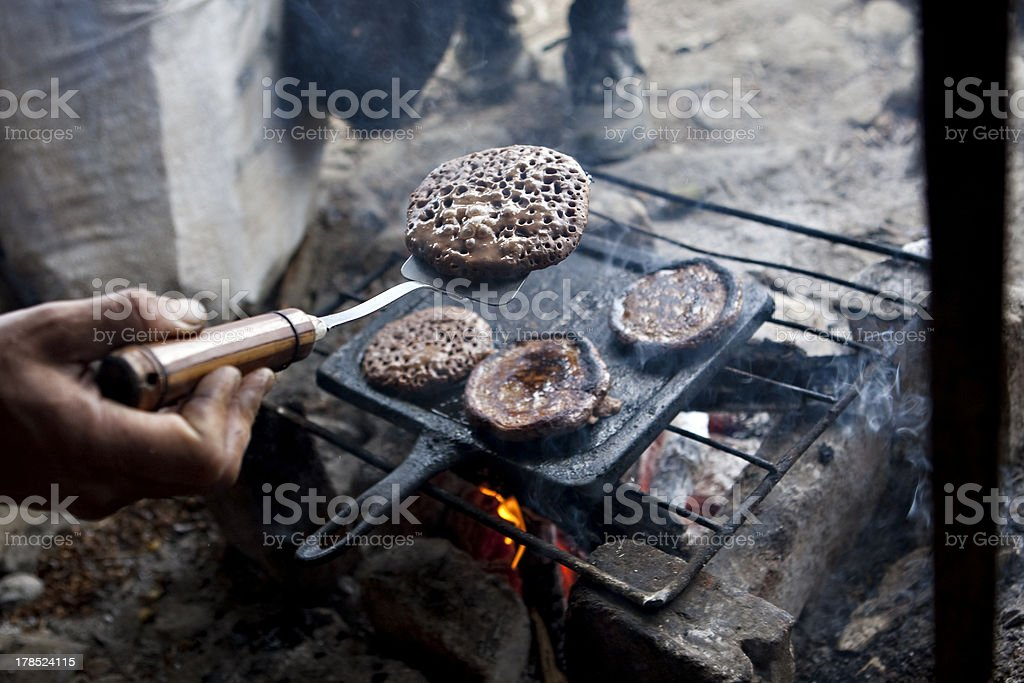 Camp Fire Pancakes royalty-free stock photo