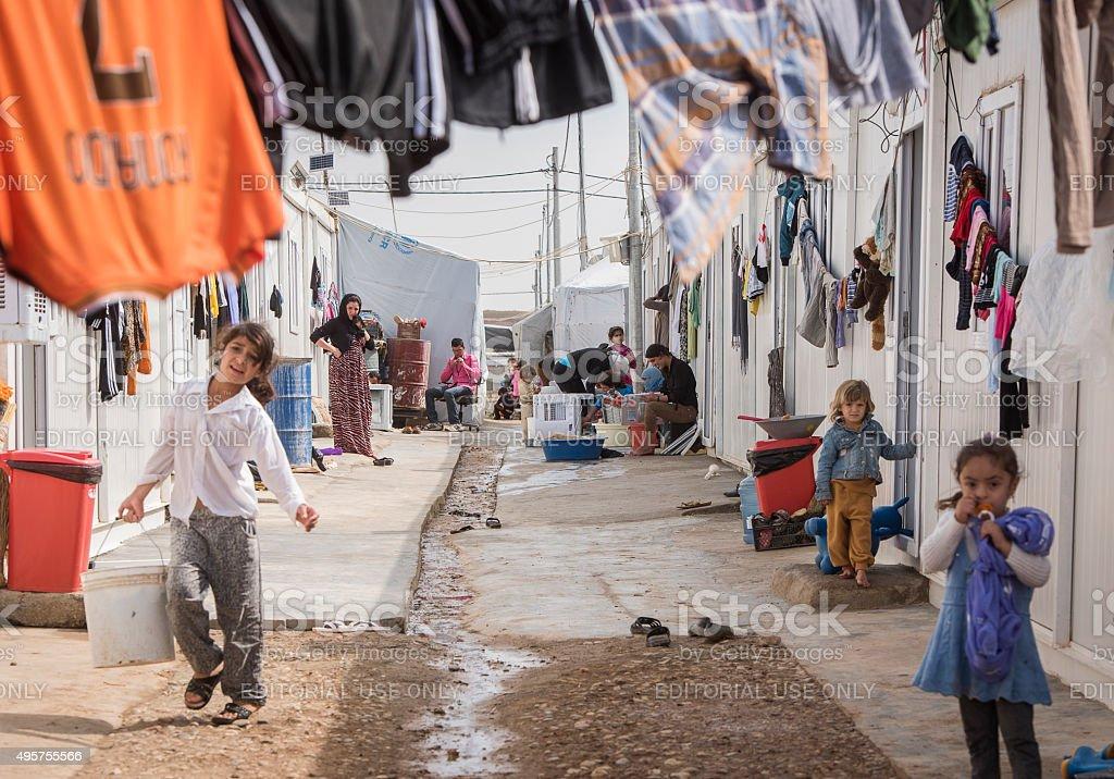 IDP Camp in kurdish autonomie region stock photo
