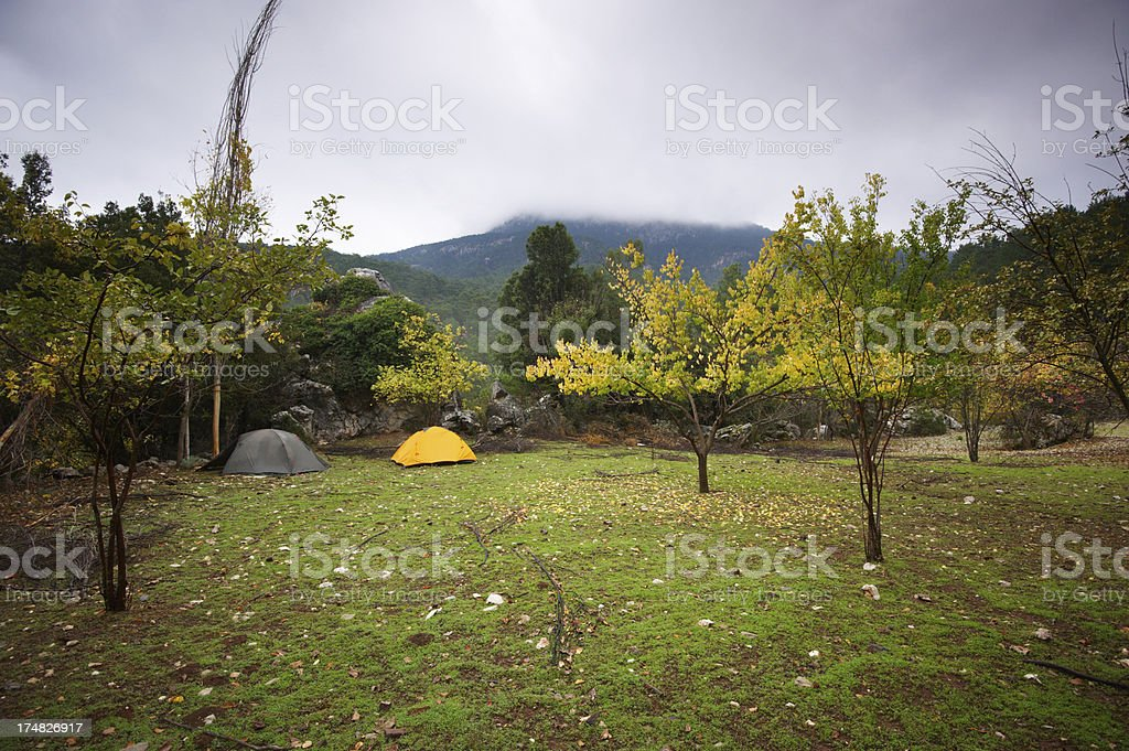 camp in mountains royalty-free stock photo