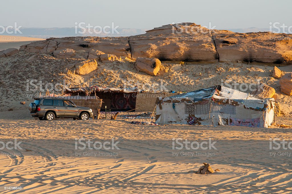 Camp in Sahara desert in Egypt stock photo