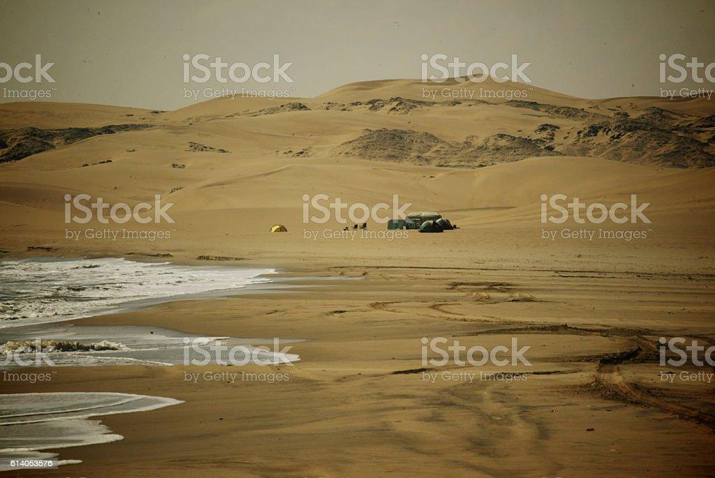 Camp in the desert stock photo