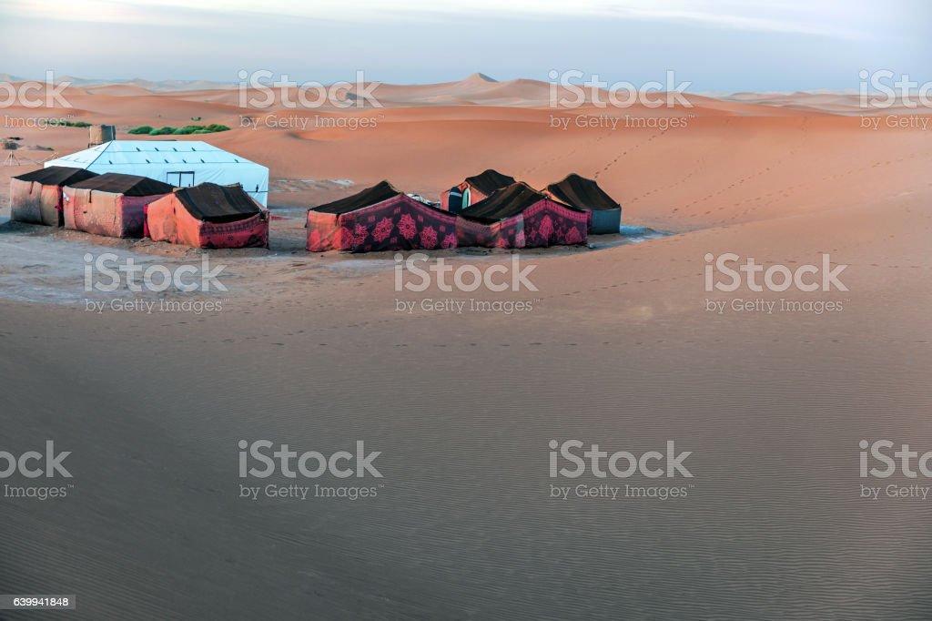 Camp in the morning in the desert Mhamid,Zagora,  Morocco, stock photo
