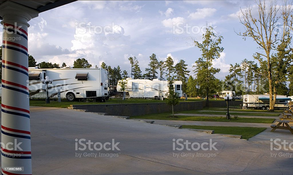 RV Camp In the Pines stock photo
