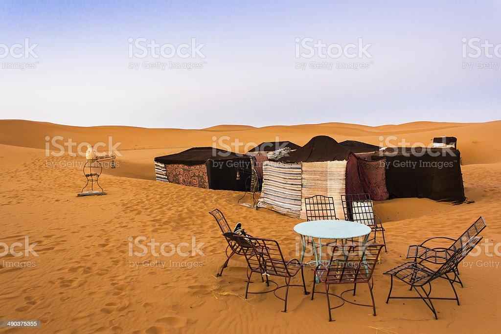 Camp in the Sahara stock photo