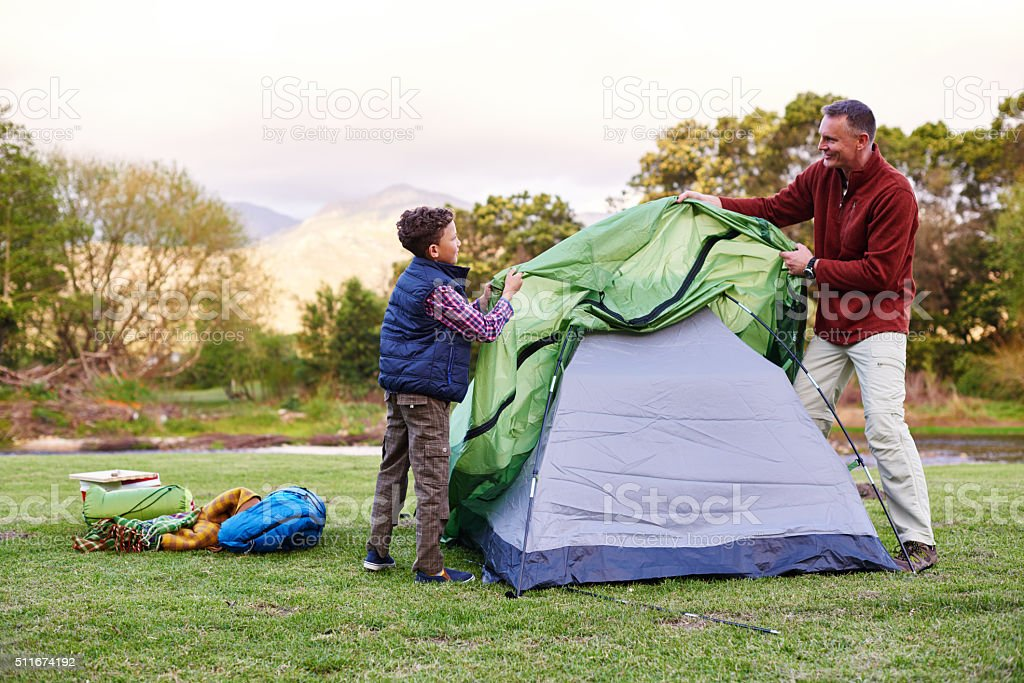 Camp is almost ready! stock photo