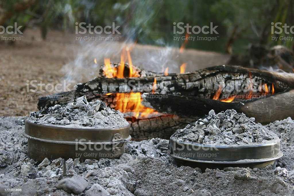 Camp Ovens by Fire royalty-free stock photo