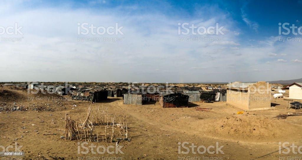 Camp site near Erta Ale volcano , Danakil Afar, Ethiopia stock photo