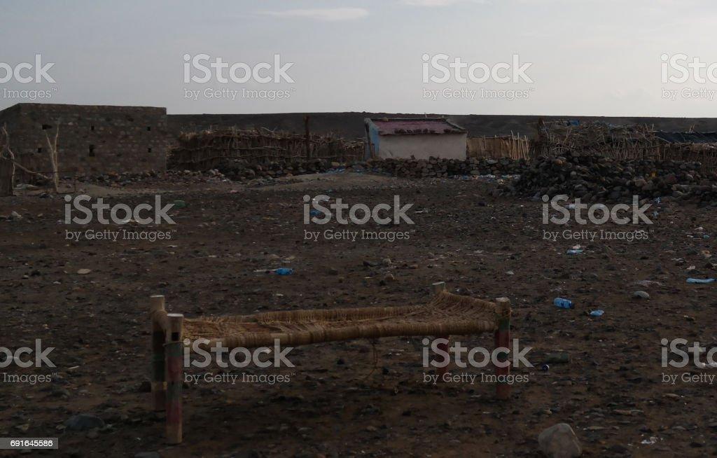Camp site near the shore of Salt Lake Karum aka Lake Assale or Asale , Danakil Afar, Ethiopia stock photo