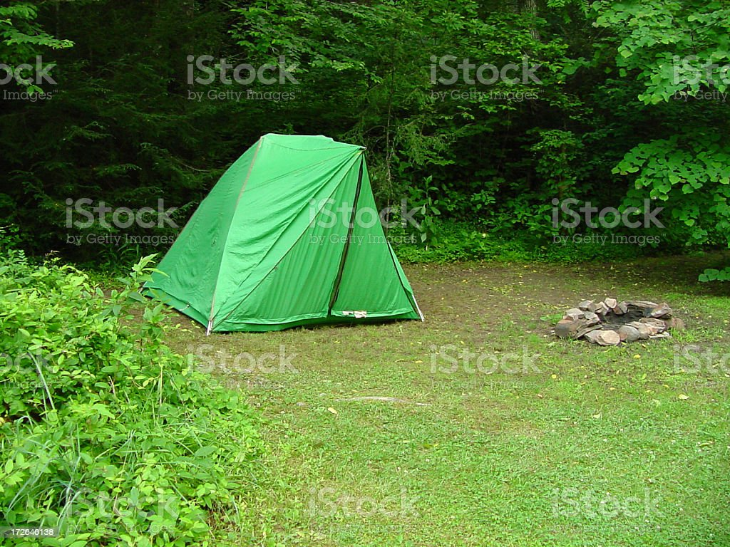 Camp Site with Campfire royalty-free stock photo