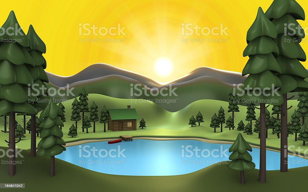 camp sunrise stock photo