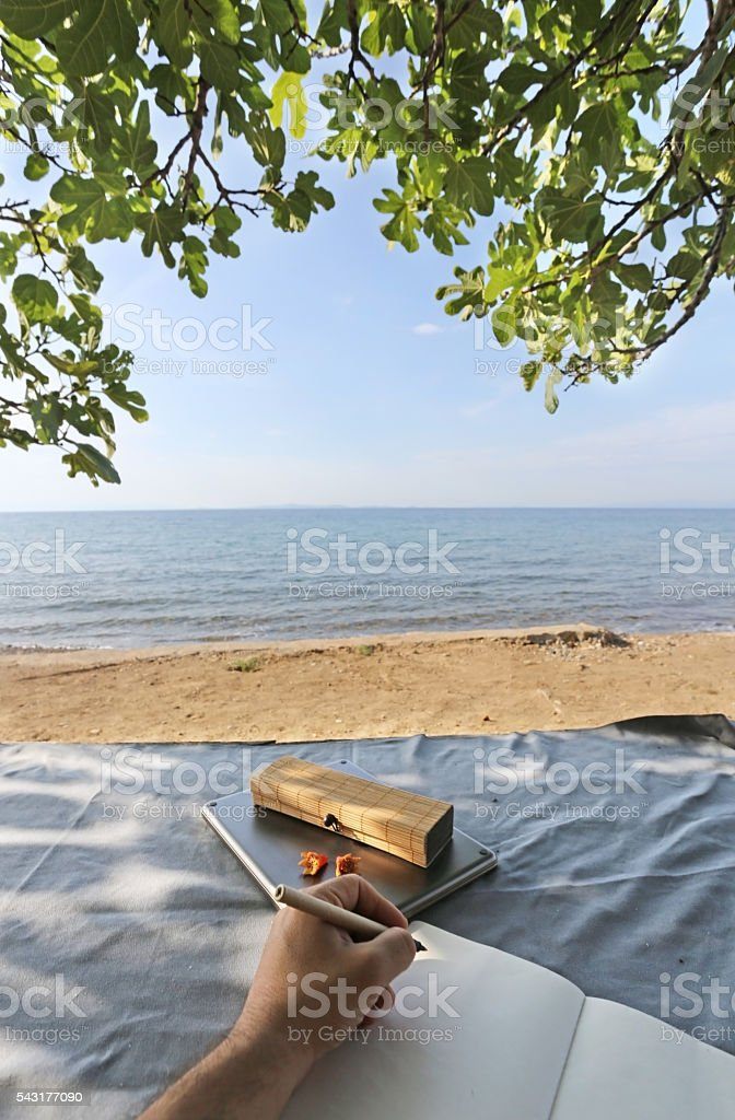 Camp table with traveling items stock photo