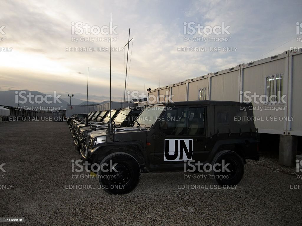UN Camp Vehicles, Haiti stock photo