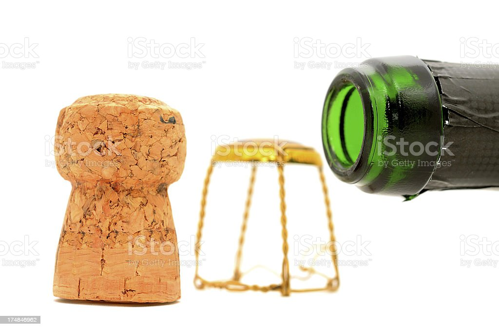 Campagne cork with bottle on white background royalty-free stock photo