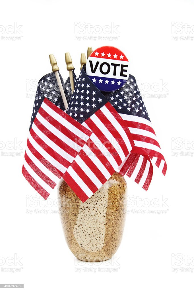 VOTE campaign button on American flags in vase stock photo