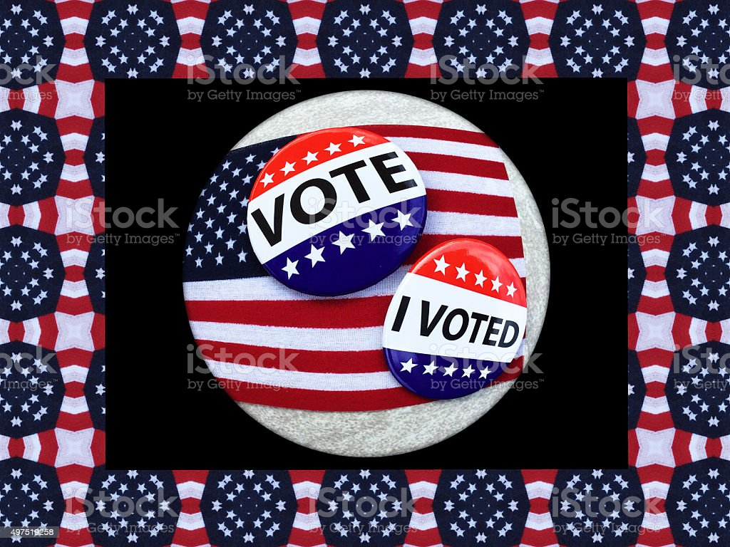VOTE campaign buttons on USA flags inside American themed banner stock photo