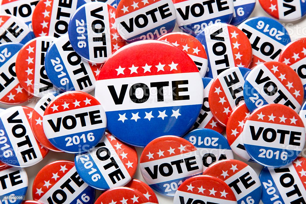 Campaign Vote Buttons 2016 stock photo