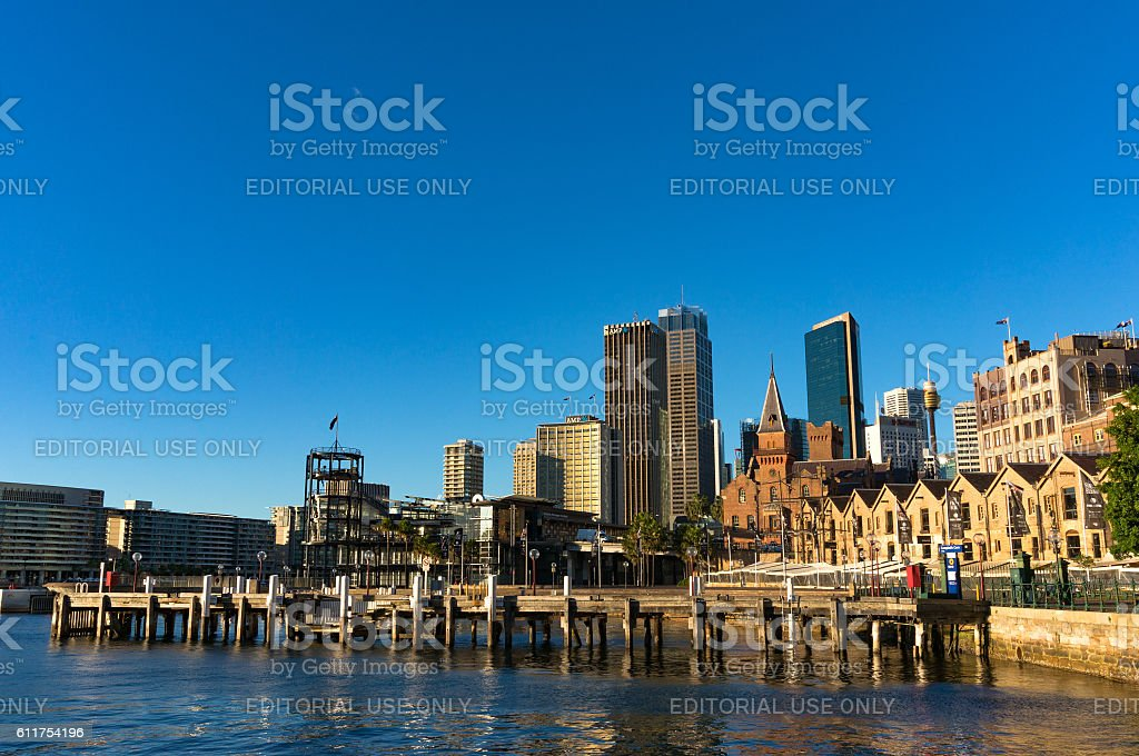 Campbells Cove Jetty and CBD views stock photo