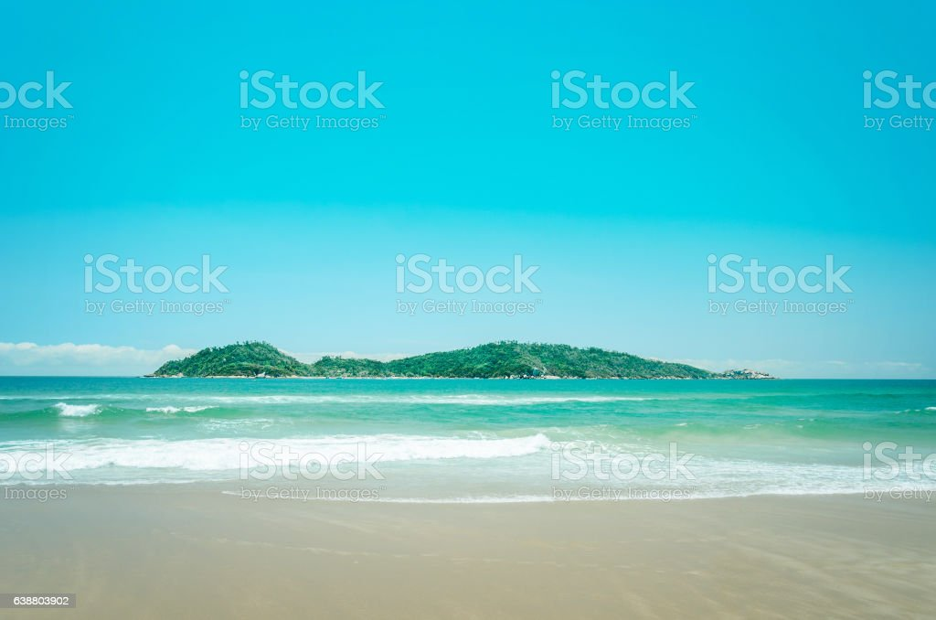 Campeche Island: Beach and an island stock photo