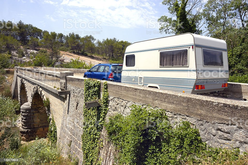 camper at bridge royalty-free stock photo