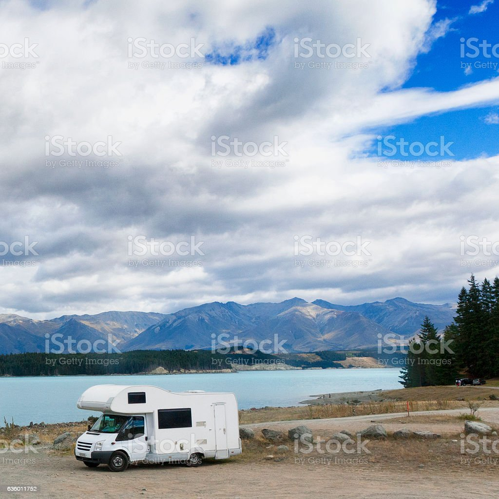 Camper at Lake Tekapo in the Southern Alps, New Zealand stock photo