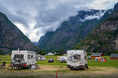 Camper cars at beautiful mountain landscape of Eidfjord, Norway