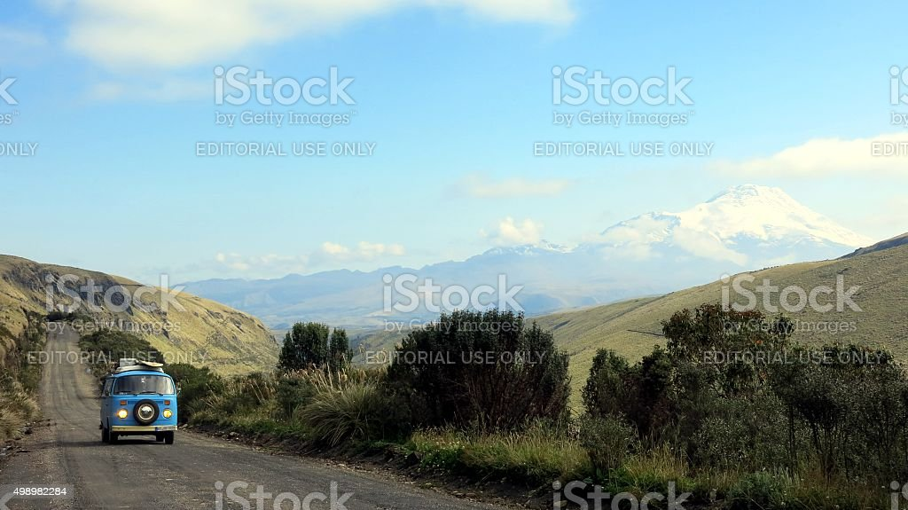 Camper from 1973 driving in Ecuador stock photo