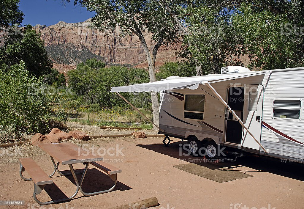 Camper in Zion National Park stock photo