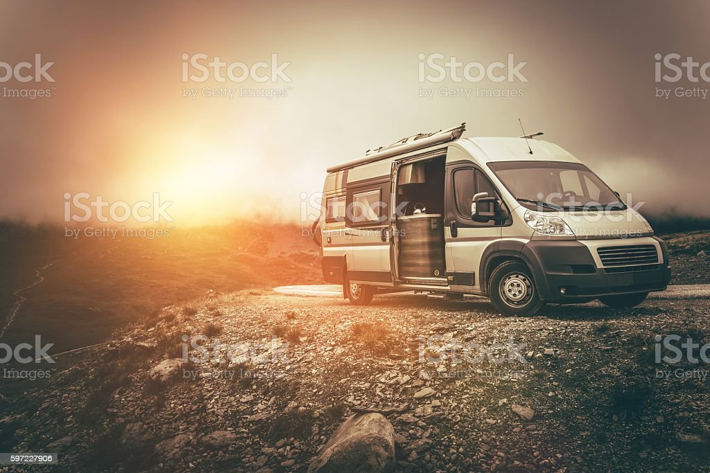 RV Camper Journey North stock photo