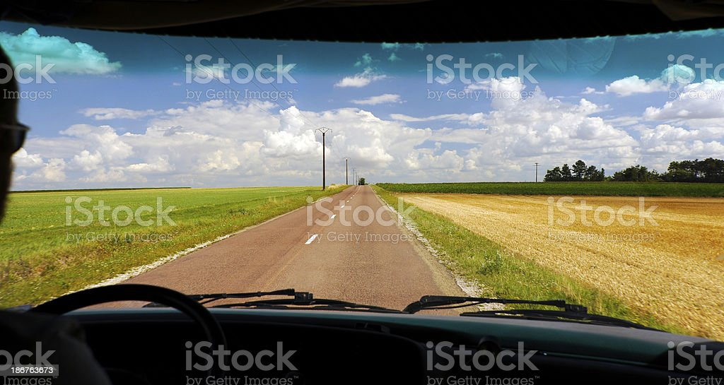 Camper on the road royalty-free stock photo