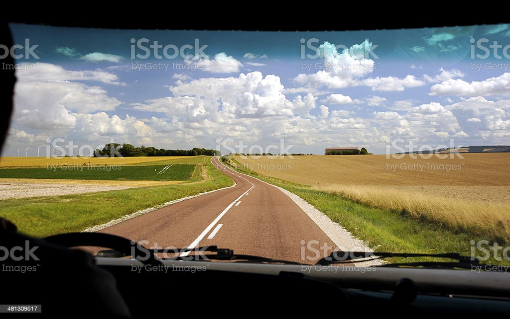 Camper on the road stock photo