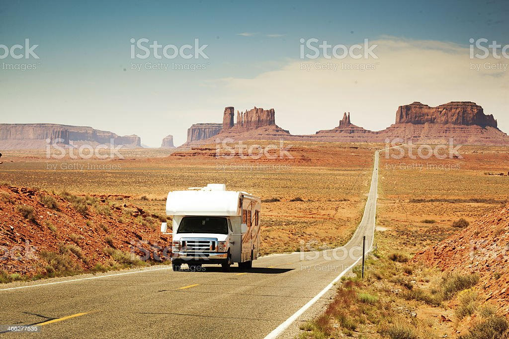 Camper Recreational Vehicle Touring Monument Valley Park in Arizona, USA stock photo