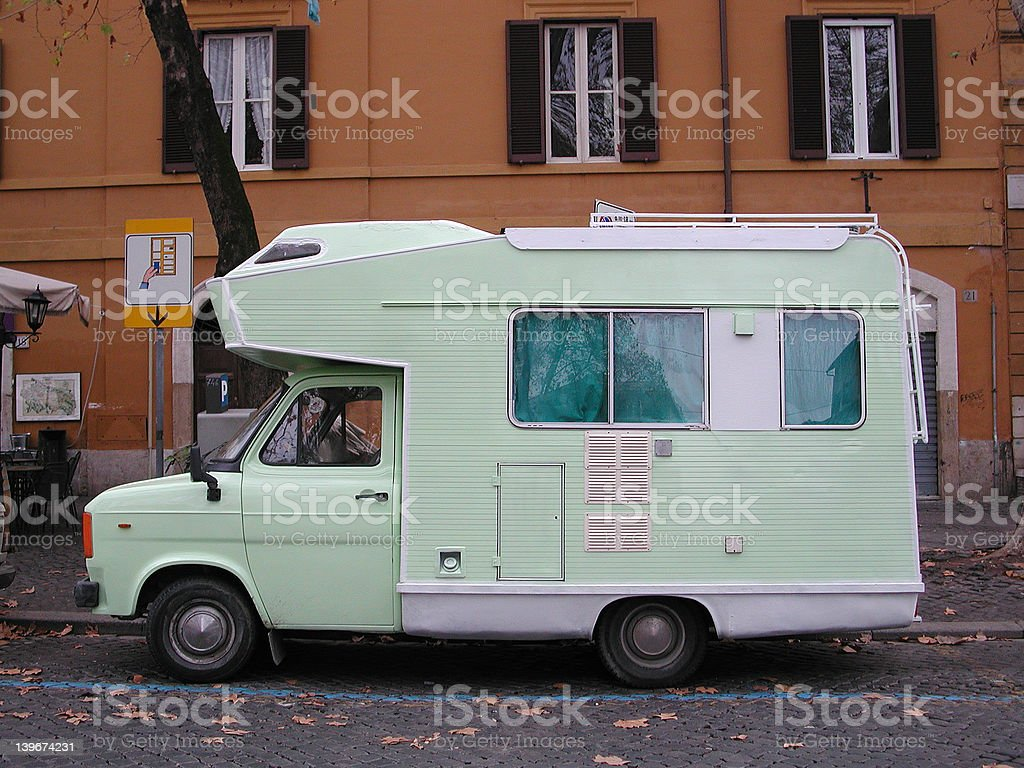 Camper RV in Rome, Italy royalty-free stock photo