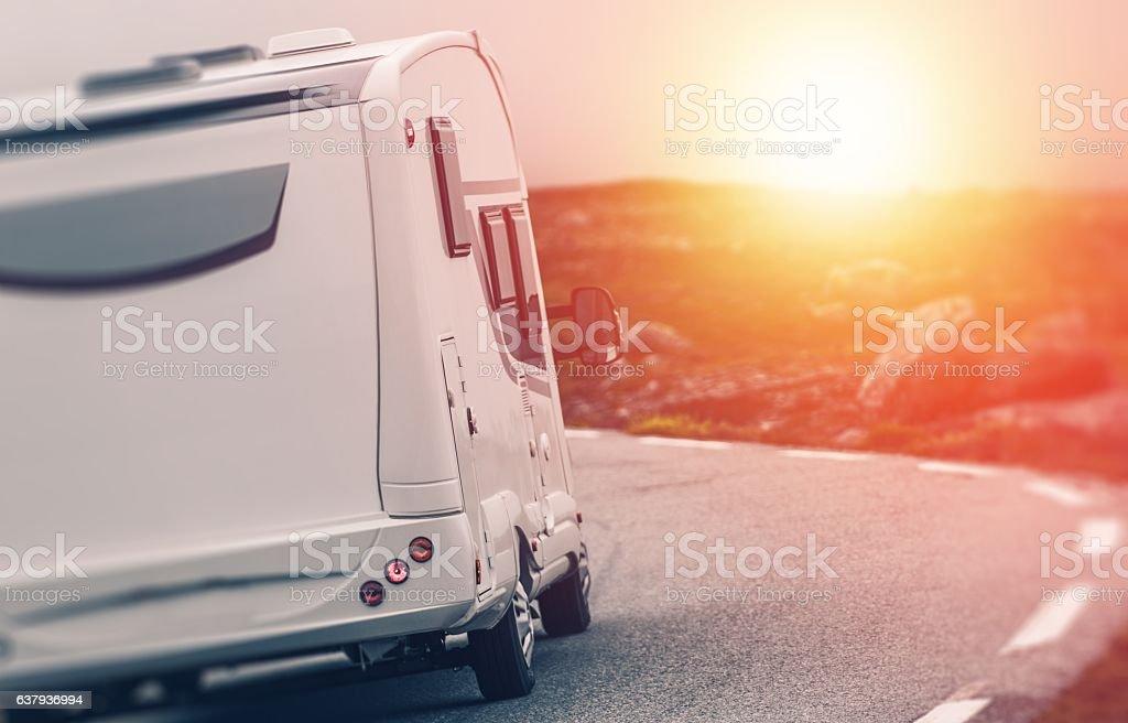 Camper RV Sunset Trip stock photo